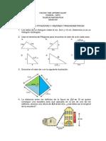 Taller de Matematicas Grado Decimo. Funciones Trigonometricas y Teorema de Pitagoras