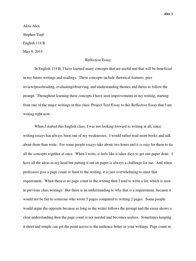 reflective essay english  b final  essays  rhetoric