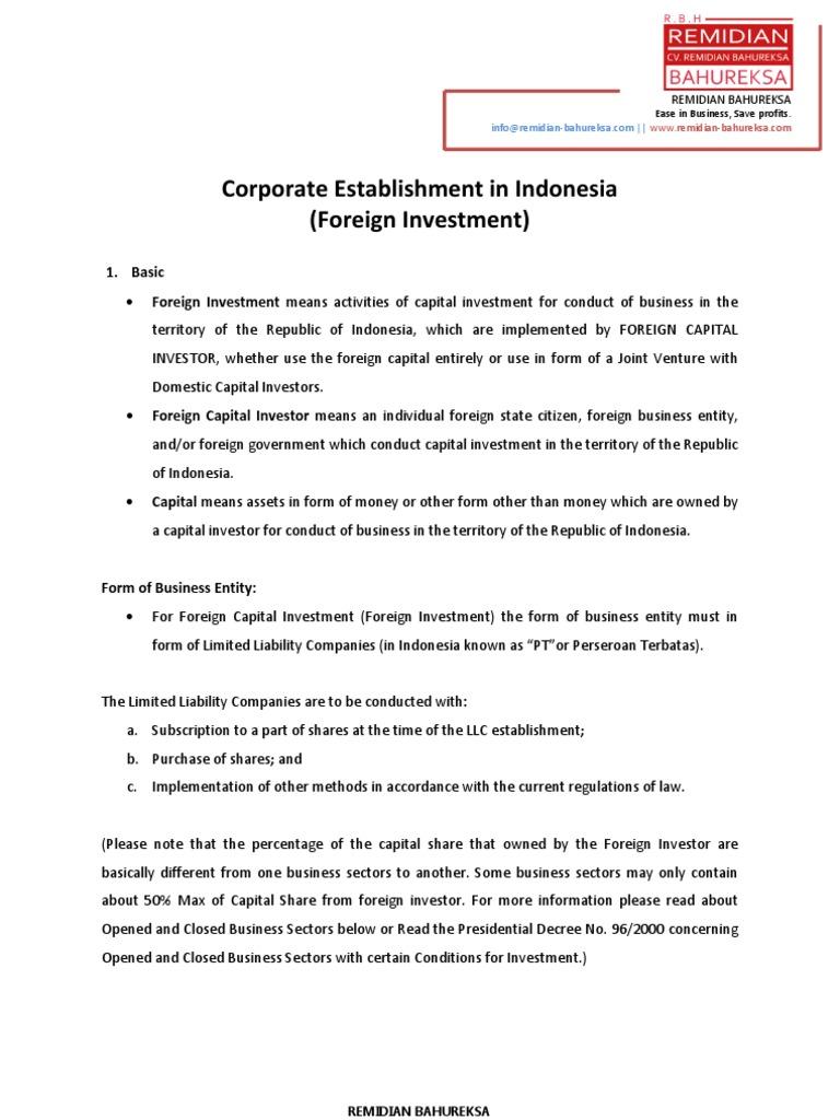 corporate establishment in indonesia foreign investment