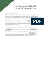 INEI Realizará Censo de Población y Vivienda 2013 de Moquegua en Abril