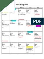 student teaching calendar