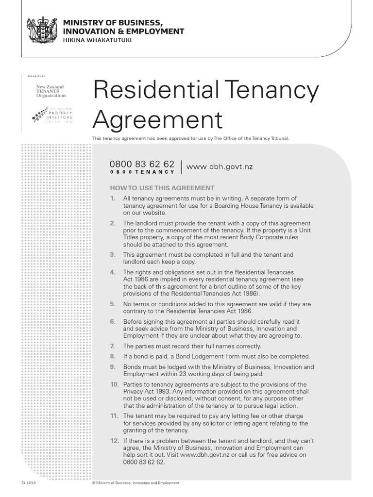 Residential Tenancy Agreement Leasehold Estate Landlord