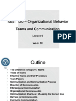 Lecture 9 - Teams and Communication