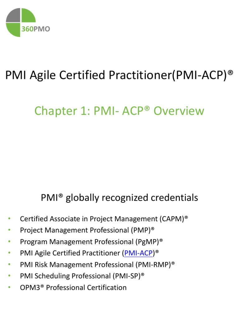 Pmi Acp Certifcation Overview Project Management Professional