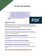 Technologies for Rural Development