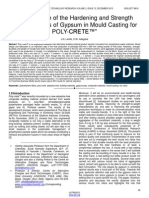Investigation of the Hardening and Strength Characteristics of Gypsum in Mould Casting for Poly Crete