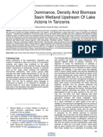 Wetland Plant Dominance Density and Biomass in Mara River Basin Wetland Upstream of Lake Victoria in Tanzania