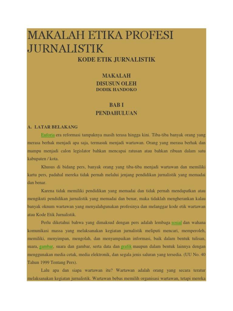 Makalah Etika Profesi Jurnalistik
