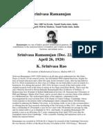 The prodigal mathematician-Srinivasa Ramanujan