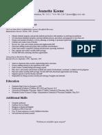 jeanette keene resume 2014