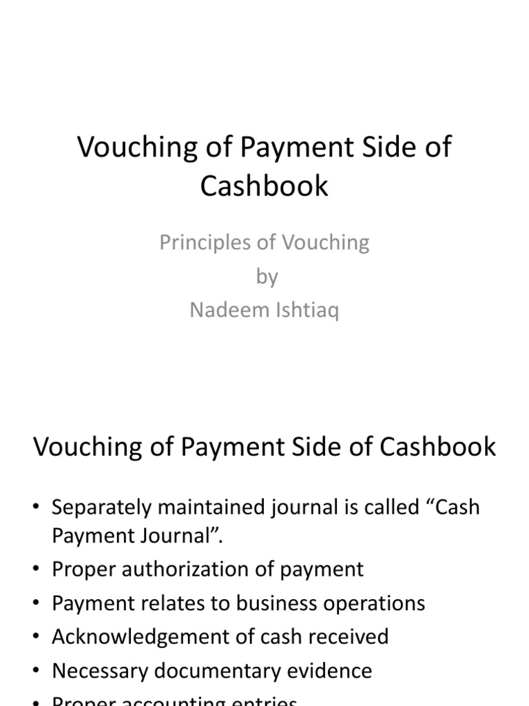 Vouching Of The Payment Side Of Cashbook | Loans | Invoice  Acknowledgement Of Cash Received