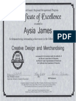 certicate of excellence right one