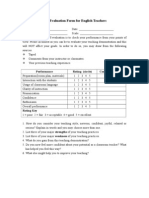 Self-evaluation Form for English Tachers