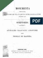 Nikša Andretić Ranjina, Nicola Ragnina- Annales Ragusini Anonymi - Nicolai de Ragnina- Anali Di Ragusa - Gamulin Mice