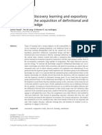 The Effects Of Discovery Learning And Expository Instruction On The Acquisition Of Definitional And Intuitive Knowledge