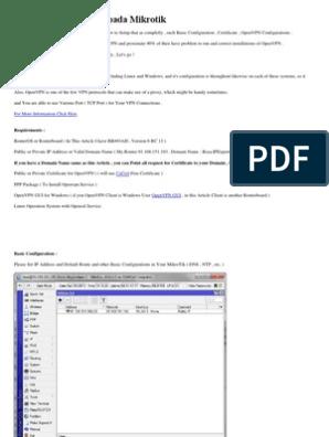Konfigurasi OpenVPN Pada Mikrotik | Public Key Certificate