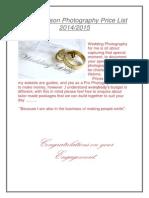 My Wedding Pricelist 2014/15