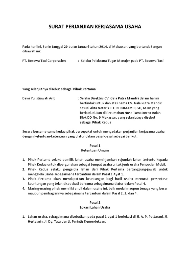Surat Perjanjian Kerjasama Usaha