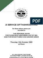2009 Memorial Order of Service
