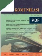 Jurnal Ilmu Komunikasi ISSN 1829-6564
