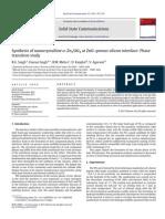 Synthesis of Nanocrystalline Α-Zn2SiO4 at ZnO-porous Silicon Interface