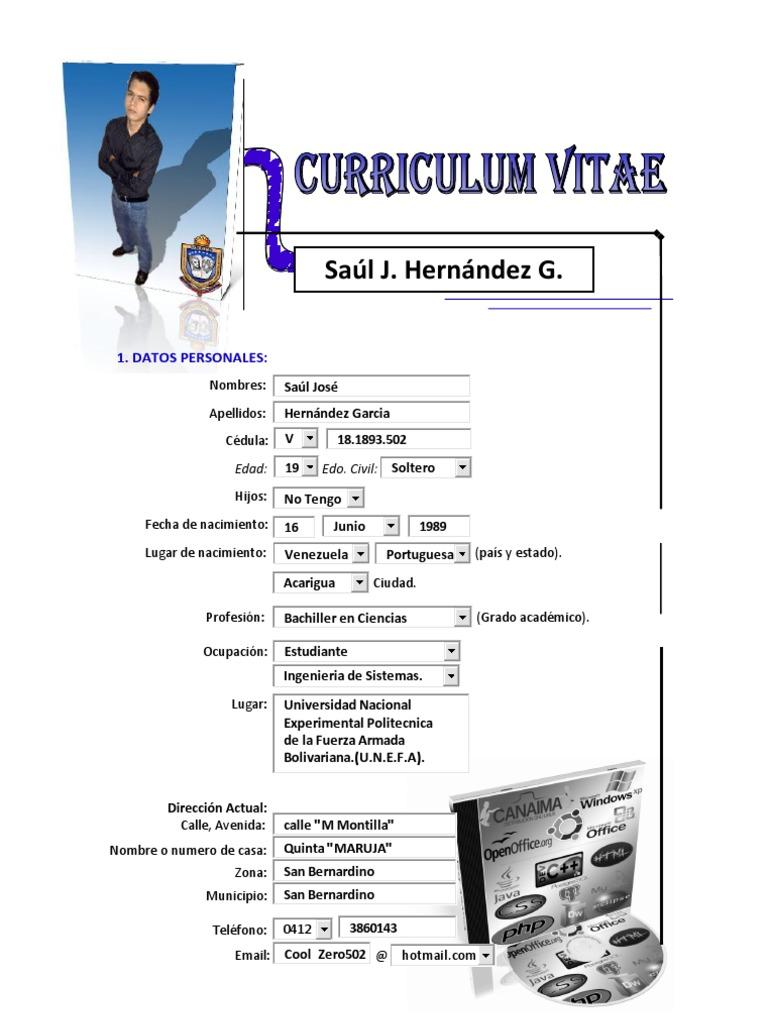 Saul Hernandez-Curriculum Vitae(Ingenieria de Sistemas)