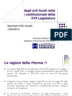 La Riforma Degli Enti Locali Nella Transizione Costituzionale della XVII Legislatura