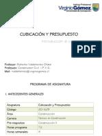01 Cubicación y Presupuesto S1