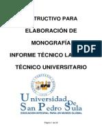 Elaboracion de Monografia Informe Tecnico Laboral Tecnico Universitario