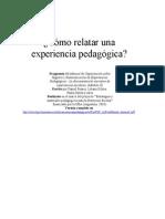 Como Relatar Una Experiencia Pedagogica
