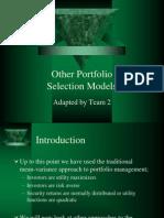 Other Portfolio Selection Models Ch11