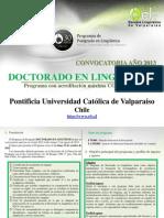 Convocatoria Doctorado Ling PUCV 2013