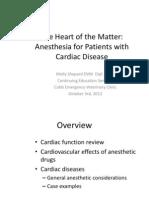 Cardiovascular Disease Anesthesia CE Talk Notes