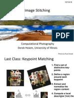 Lecture 17 - Photo Stitching
