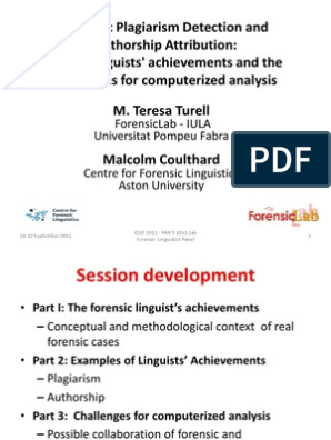 Turell Coulthard123 Slides Forensic Science Linguistics