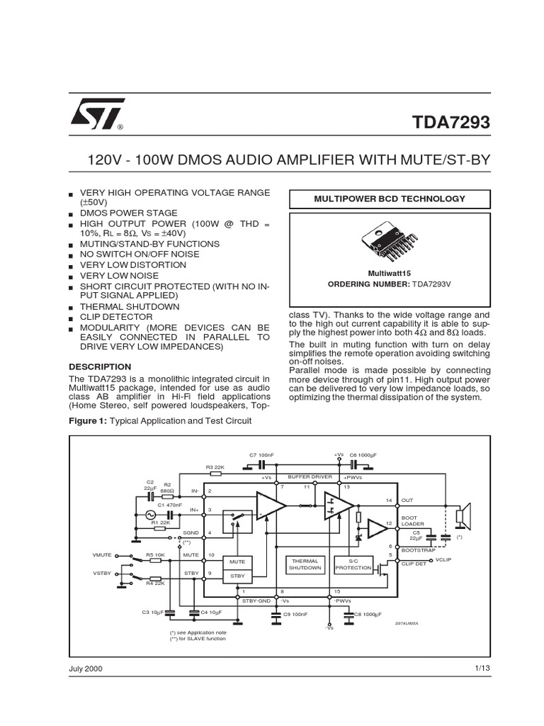Tda7293pdf Amplifier Electrical Engineering Short Circuit Protecting A Class Ab