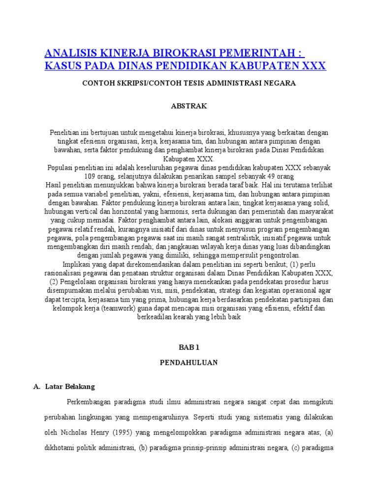 Analisis Kinerja Birokrasi Pemerintah Contoh Skripsi