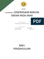 Teknik Pemeriksaan Barium Enema Pada Anak