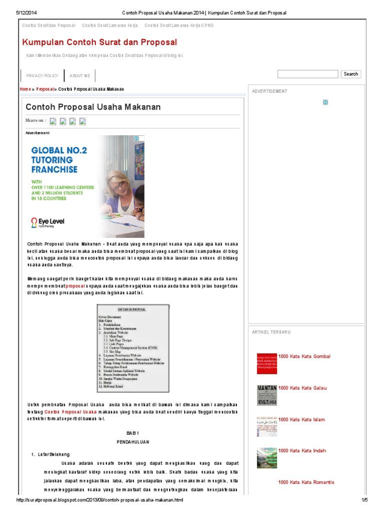 Contoh Proposal Usaha Makanan 2014 _ Kumpulan Contoh Surat ...