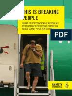 amnesty international manus island report