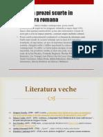 Evolutia Prozei Scurte in Literatura Romana