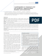 2012 Extracurricular Participation in Research and Audit by Medical Students Opportunities, Obstacles, Motivation and Outcomes