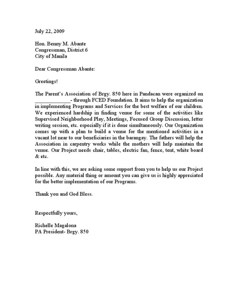 solicitation letter