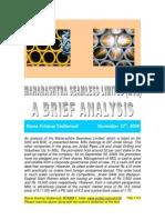Maharashtra Seamless-An Analysis for Investment-VRK100 -10112009