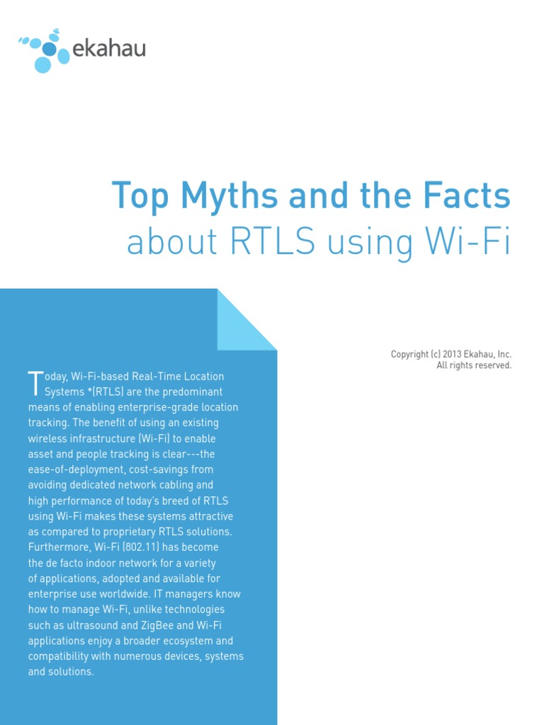 RTLS Myths vs Facts Ekahau 2013 Letter | Wi Fi | Radio Frequency