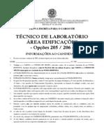 Opcoes 205 e 206 - Tecnico de Laboratorio - Area Edificacoes