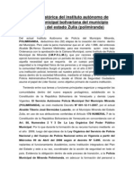 Reseña Histórica Del Instituto Autónomo de Policía Municipal Bolivariana Del Municipio Miranda Del Estado Zulia