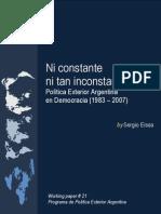 Politica Exterior 1983 a 2007 Ni Constante Ni Tan Inconstante
