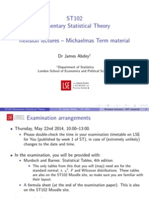ST102 Michaelmas Term Revision LSE London School of