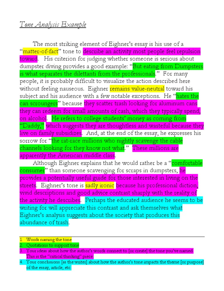 examples of essays on tone